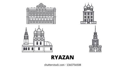 Russia, Ryazan line travel skyline set. Russia, Ryazan outline city vector illustration, symbol, travel sights, landmarks.