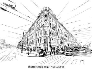 Russia. Saint Petersburg. Unusual perspective hand drawn sketch. City vector illustration