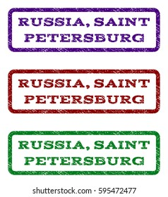 Russia, Saint Petersburg watermark stamp. Text tag inside rounded rectangle frame with grunge design style. Vector variants are indigo blue, red, green ink colors. Rubber seal stamp with dust texture.