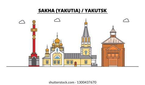 Russia, Sakha Yakutia , Yakutsk. City skyline: architecture, buildings, streets, silhouette, landscape, panorama. Flat line, vector illustration.