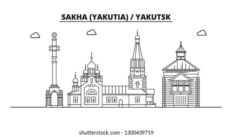 Russia, Sakha Yakutia , Yakutsk. City skyline: architecture, buildings, streets, silhouette, landscape, panorama, landmarks. Flat design, line vector illustration concept. Isolated icons