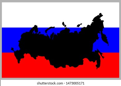 Russia silhouette map in russian flag. Russian federation vector map on flag. Vector illustration