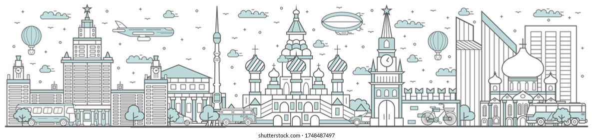 Russia skyline. Line cityscape with famous building landmarks horizontal panorama. Russia skyline with street city sights. City constructions outline, architecture concept
