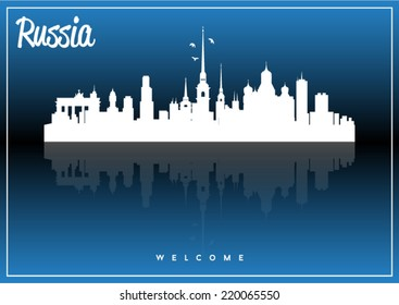 Russia, skyline silhouette vector design on parliament blue and black background.