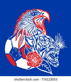 Russia soccer ball wild tiger and eagle graphic design vector art
