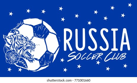 Russia Soccer graphic desing vector art