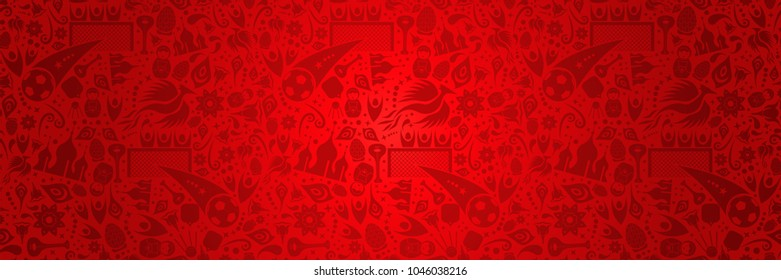 Russia soccer world cup 2018 symbol decoration background in red color ideal for web banner. Traditional russian culture and sport football signs, moscow landmark and flowers. EPS10 vector.