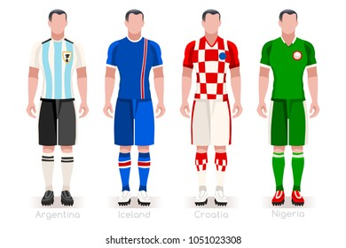 Russia Soccer world cup 2018 a group D of players with team shirts flags and ball. referee football vector illustration.
