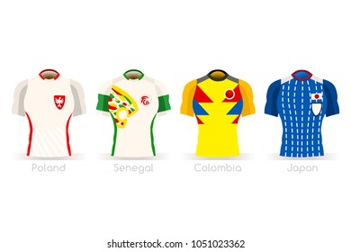 Russia Soccer world cup 2018 group H players with team shirts flags and ball. referee football vector illustration.