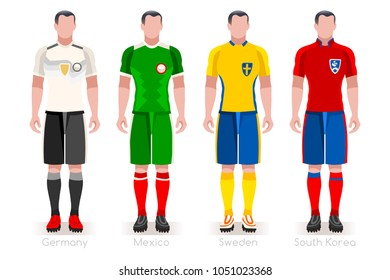 Russia Soccer world cup 2018. Group F players with team shirts flags and ball. referee football vector illustration.