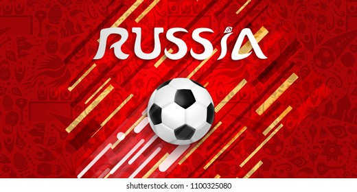 Russia soccer world cup 2018 web banner for special football match world cup 2018. Russia text quote and ball illustration with festive color background. EPS10 vector.