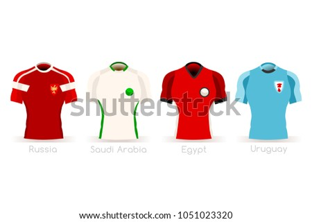Russia Soccer world cup 2018 a group A of players with team shirts flags  and ball. referee football vector illustration. - Vector 8fa2c8e1c