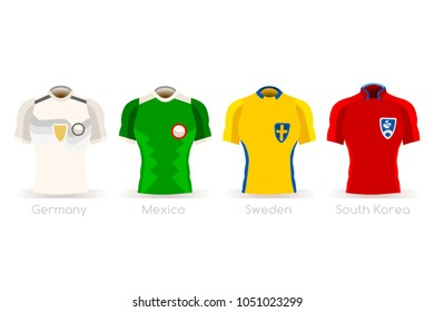 Russia Soccer world cup2018. Group F players with team shirts flags and ball. referee football vector illustration.