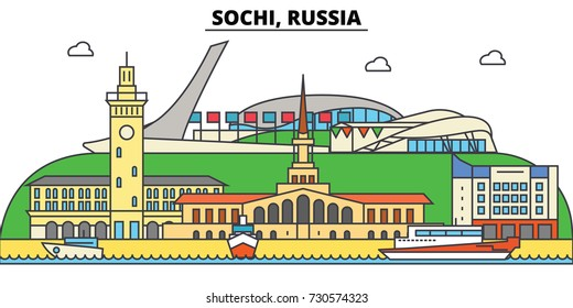 Russia, Sochi. City skyline, architecture, buildings, streets, silhouette, landscape, panorama, landmarks. Editable strokes. Flat design line vector illustration concept. Isolated icons set