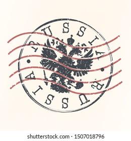 Russia Stamp Postal. Silhouette Seal. Passport Round Design. Vector Icon. Design Retro Travel.