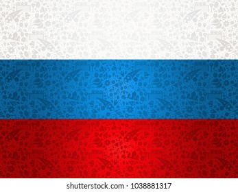 Russia symbol decoration background in country flag colors. Traditional russian culture elements template for 2018 soccer event. Includes football players, moscow landmark and flowers. EPS10 vector.