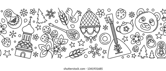 Russia thin line black white icons seamless background border frame pattern. Vector collection Russian culture signs and symbols, Moscow Kremlin, Cathedral, russian doll, balalaika, samovar, bear.