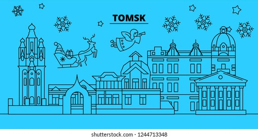 Russia, Tomsk winter holidays skyline. Merry Christmas, Happy New Year decorated banner with Santa Claus.Russia, Tomsk linear christmas city vector flat illustration