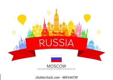 Russia Travel Landmarks. Vector and Illustration