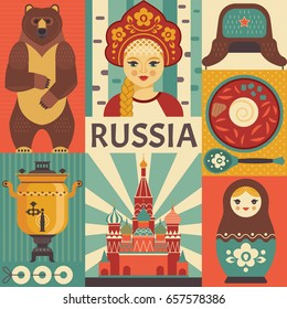 Russia travel poster concept. Vector illustration with Russian culture icons, including St. Basil's Cathedral, russian doll, borscht , portrait of Russian beauty in kokoshnik. Isolated on background.