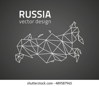 Russia triangle modern black vector perspective map
