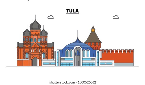Russia, Tula. City skyline: architecture, buildings, streets, silhouette, landscape, panorama. Flat line, vector illustration.