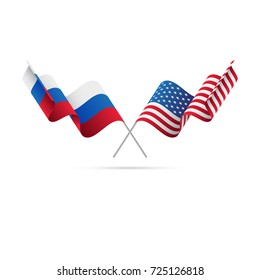 Russia and USA flags. Vector illustration.