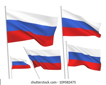 Russia vector flags set. 5 wavy 3D cloth pennants fluttering on the wind. EPS 8 created using gradient meshes isolated on white background. Five fabric flagstaff design elements from world collection