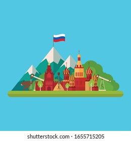 Russia vector illustration. Flat design with general Russian element. Travel illustration. Vector panorama with Russian buildings. Trendy flat illustration.