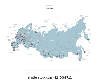 Russia vector map. Editable template with regions, cities, red pins and blue surface on white background.