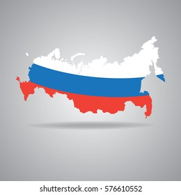 Russia vector map silhouette. flag colors on a white background.