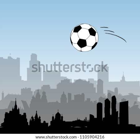Russia vector skylines with football ball