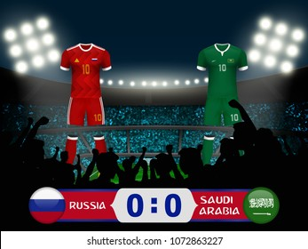 Russia versus Saudi Arabia football match result. Concept design for template of 3d soccer uniform with scoreboard and background of crowd fan cheer team at soccer stadium in vector illustration