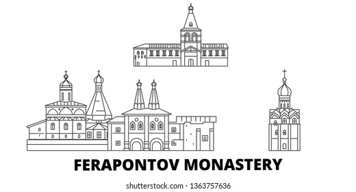 Russia, Vologda, Ferapontov Monastery line travel skyline set. Russia, Vologda, Ferapontov Monastery outline city vector illustration, symbol, travel sights, landmarks.