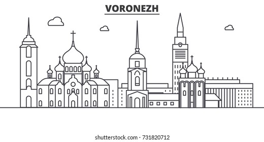 Russia, Voronezh architecture line skyline illustration. Linear vector cityscape with famous landmarks, city sights, design icons. Landscape wtih editable strokes