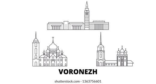 Russia, Voronezh line travel skyline set. Russia, Voronezh outline city vector illustration, symbol, travel sights, landmarks.
