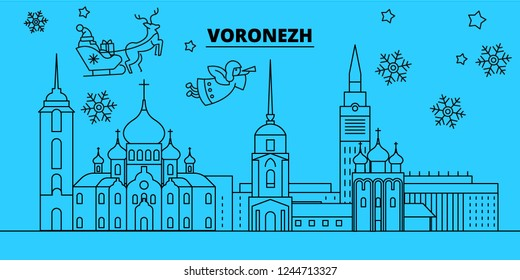 Russia, Voronezh winter holidays skyline. Merry Christmas, Happy New Year decorated banner with Santa Claus.Russia, Voronezh linear christmas city vector flat illustration