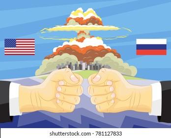 Russia vs America, Atomic bomb on background