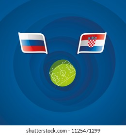 Russia vs Croatia flags abstract soccer stadium background