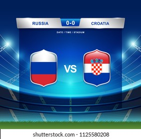 Russia vs Croatia scoreboard broadcast template for sport soccer 2018 and football league or world tournament championship round quarter finals vector illustration