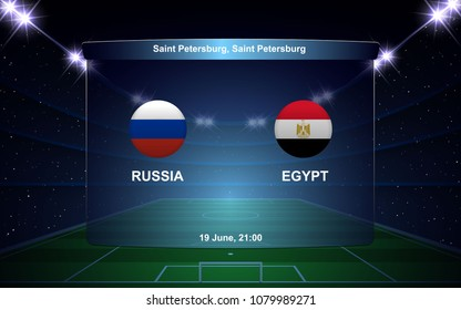 Russia vs Egypt football scoreboard broadcast graphic soccer template