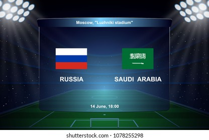 Russia vs Saudi Arabia. football scoreboard broadcast graphic soccer template