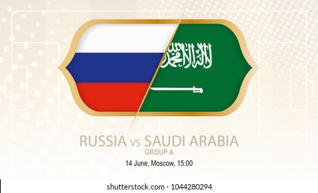 Russia vs Saudi Arabia, Group A. Football competition, Moscow. On beige soccer background.