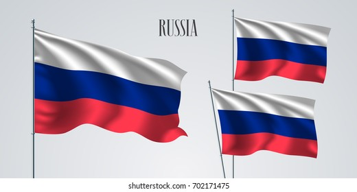 Russia waving flag set of vector illustration. Three colors of Russian wavy realistic flag as a patriotic symbol