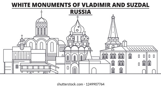 Russia - White Monuments Of Vladimir And Suzdal travel famous landmark skyline, panorama, vector. Russia - White Monuments Of Vladimir And Suzdal linear illustration