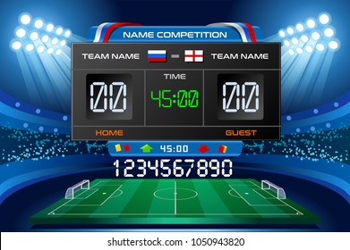 Russia World Cup 2018 Electronic stadium scoreboard displaying arena match results. Vector wallpaper illustration.