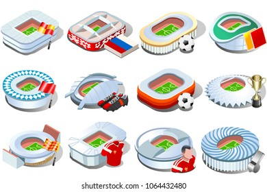 Russia World Cup 2018 football stadium icon set collection. Soccer arena infographic game strategy map icons. Landmark vector illustration symbol.