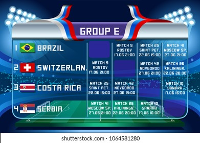 Russia World Cup 2018 football. Match schedule countries group E scoreboard soccer. Stadium time table background vector illustration set collection.