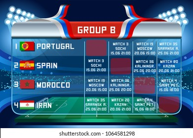 Russia World Cup 2018 football. Match schedule countries group B scoreboard soccer. Stadium time table background vector illustration set collection.