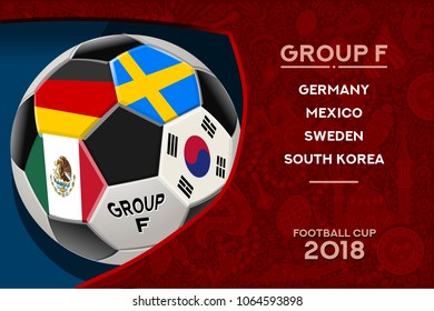 Russia World Cup 2018 football. Match schedule countries group F scoreboard soccer. Stadium time table background vector illustration set collection.